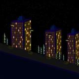 Nattstadslandskap med lampor stock illustrationer