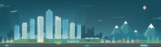Nattstadslandskap och förorts- landskap Byggnadsarkitektur, cityscapestad Modern stad och förort Begrepp Arkivfoton