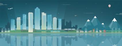 Nattstadslandskap och förorts- landskap Byggnadsarkitektur, cityscapestad Modern stad och förort Begrepp Royaltyfri Fotografi