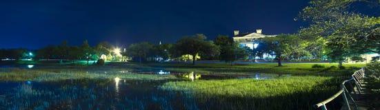 Nattstrandpanorama Arkivbild
