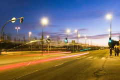 natttrafik för 2 lampor Royaltyfria Foton