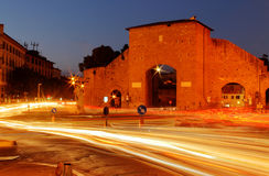 Natttrafik i den Porta romanaen Arkivbild