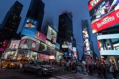 Natttrafik i New York City Royaltyfri Foto