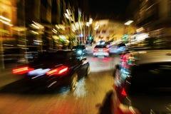 Natttrafik med idérik zoomeffekt Fotografering för Bildbyråer