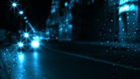 Natttrafik och regn stock video