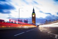 Natttrafik på Big Ben Arkivfoto