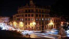 Natttvärgator i rome arkivfoton