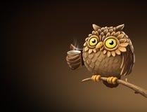 Nattuggla med kaffe illustration vektor illustrationer