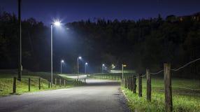 Nattväg med kurvor och gatalampan Arkivfoton