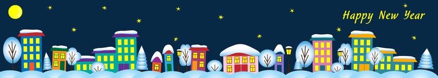 Nattvinterstad med hus och träd stock illustrationer