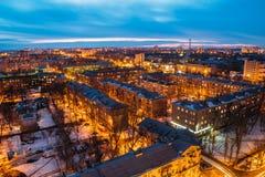 NattVoronezh cityscape från tak 3d framför illustrationen Royaltyfri Foto