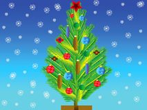 Natty fir tree with toy on her Stock Photo