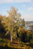 Natur av den Ples staden, Ryssland och Volgaet River shadows den blåa långa naturen för hösten skyen Arkivbild