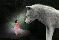 Natur flicka, varg, trän, skog som är overklig royaltyfri fotografi