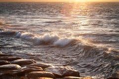 Natur Hav och solnedgång waves för textur för hav för illustrationsdesign naturliga Royaltyfri Fotografi
