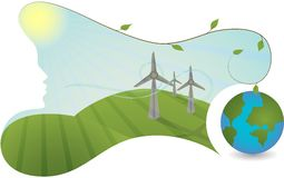 Natur hilft erzeugen Energie stock abbildung