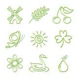 Natur-Ikonen-Set Stockbilder