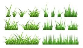 Natur ilustracje zieleni pola trawa Wektoru set odizolowywa na bielu ilustracji