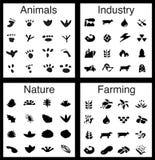 Natur-/Industrie-Ikonen-Set vektor abbildung