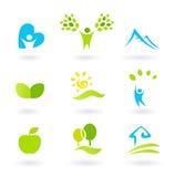 Natur, Landschaft, Leute und organische Ikonen Lizenzfreie Stockfotos