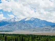 Natur-Landschaft mit Gebirgshintergrund entlang der Landstraße in Leh Ladakh, Indien Stockbilder