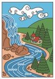 Natur-Landschaft - Wasserfall, Fluss, Berge und das schöne Haus lizenzfreie abbildung
