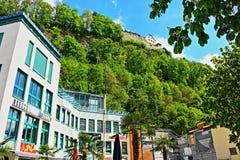 Natur Liechtenstein för Vaduz stadvår Arkivbilder