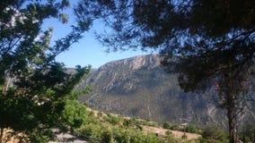 Natur mounti Gebirgshimmel-Baum-Reise Stockfoto