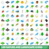 100 natur- och landskapsymbolsuppsättning vektor illustrationer