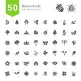 Natur- och livsymbolsuppsättningar 50 fasta vektorsymboler Arkivfoton