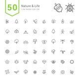 Natur- och livsymbolsuppsättningar 50 linje vektorsymboler Royaltyfria Foton