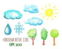 Natur- och vädersymboler vid pastell Molnet, solen, trädet, snöflingan och vatten tappar den handdrawn illustrationen stock illustrationer