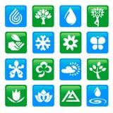 Natur- och vattensymbolsknappar Royaltyfri Bild