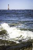 Natur sceny blisko Morris wyspy latarni morskiej plaży obrazy royalty free