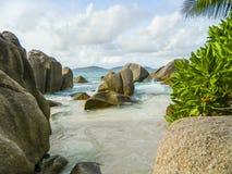 natur seychelles för liggande för la för bakgrundsdigueö Royaltyfria Foton