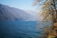 Natur sjö Ceresio, i Schweiz royaltyfria foton