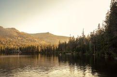 Natur solnedgång för sjöreflexion Fotografering för Bildbyråer