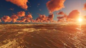 Natur-Sonnenuntergang-Szene Sun-Glanz im Fluss vektor abbildung