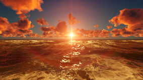 Natur-Sonnenuntergang-Szenen-Licht-Reflexion im Ozean stock abbildung