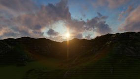 Natur-Sonnenuntergang zwischen Bergen lizenzfreie abbildung