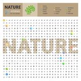 Natur-thematische Sammlung der Linie Ikonen lizenzfreie stockfotos