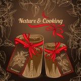Natur und das Kochen des Krautgewürzs rüttelt mit rotem Band Lizenzfreie Stockbilder