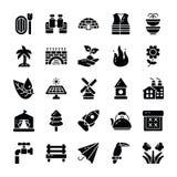 Natur und Glyph-Ikonen im Freien lizenzfreie abbildung