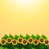 Natur- und Grafikgarten auf gelbem Hintergrund Stockfotos