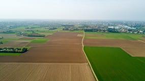 Natur und Landschaft: Vogelperspektive eines Feldes, Bearbeitung, Landschaft, bewirtschaftend, grünes Gras, Stockfotografie