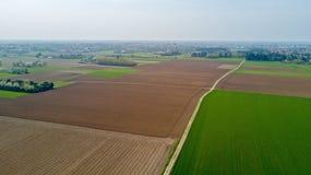 Natur und Landschaft: Vogelperspektive eines Feldes, Bearbeitung, Landschaft, bewirtschaftend, grünes Gras, Stockbild