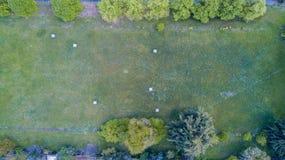 Natur und Landschaft: Vogelperspektive eines Feldes, gepflogenes Feld, Bearbeitung, grünes Gras, Heuschober, Heuballen Stockfotografie