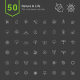 Natur-und Leben-Ikonen-Sätze 50 dünne Linie Vektor-Ikonen Stockbild
