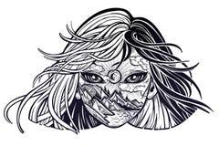 Natur und wanderlast M?dchen Magische Frau der jungen Doppelbelichtung mit Gesicht als Waldlandschaft lizenzfreie abbildung