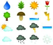 Natur- und Wettervektorikonen Lizenzfreie Stockfotografie
